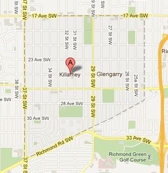 map of Killarney Calgary infill community