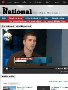 Cody Battershill on CBC National News in Calgary
