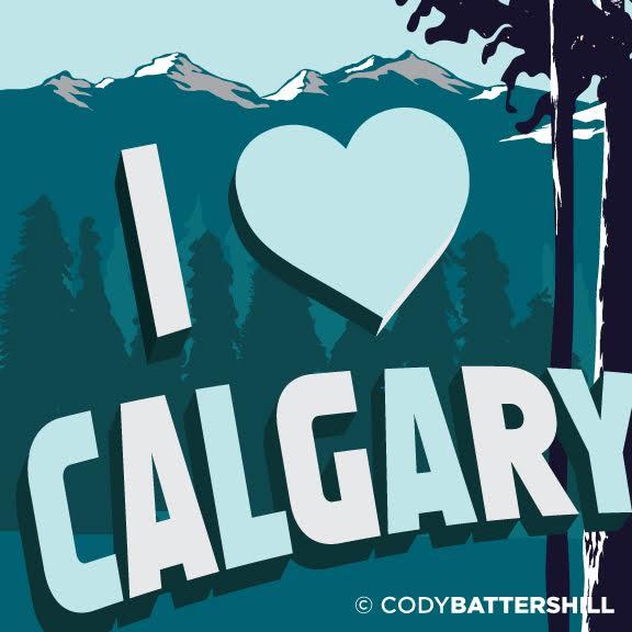 i love yyc calgary mountains graphic