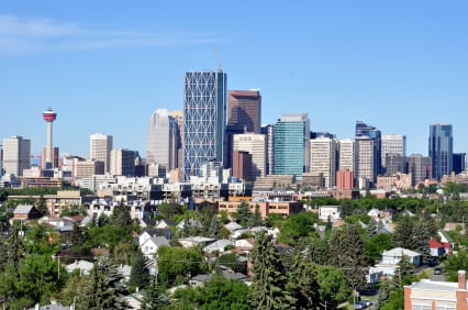 Downtown Calgary Skyline inner city homes