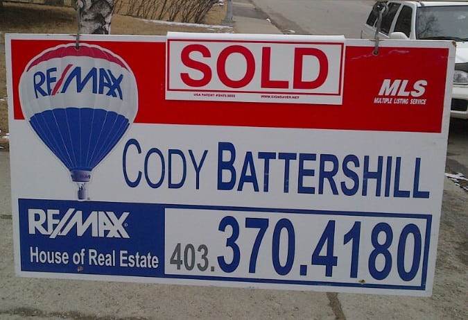 Calgary Remax Realtor - SOLD Sign