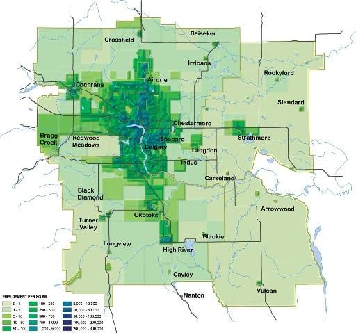 Calgary employment density 2075