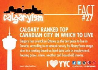 Calgaryism Fact - Calgary is the best place to live in Canada