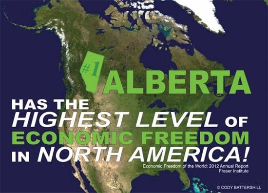 Alberta Highest Economic Freedom North America 2012 Infographic