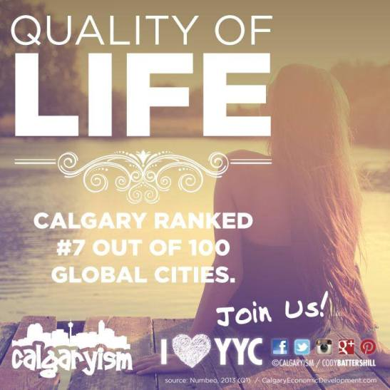 Calgary 7th Highest Quality of Life 2013 infographic