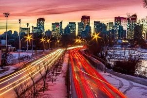 Downtown Calgary Traffic Night Highway