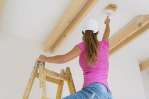 Painting Home Real Estate Investments Woman Ladder Interior