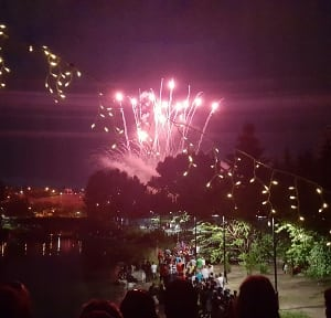 Fireworks downtown Princes Island Park Calgary Alberta