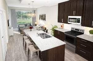 kitchen and living room space interior vivace 85th new calgary condos new townhomes west springs