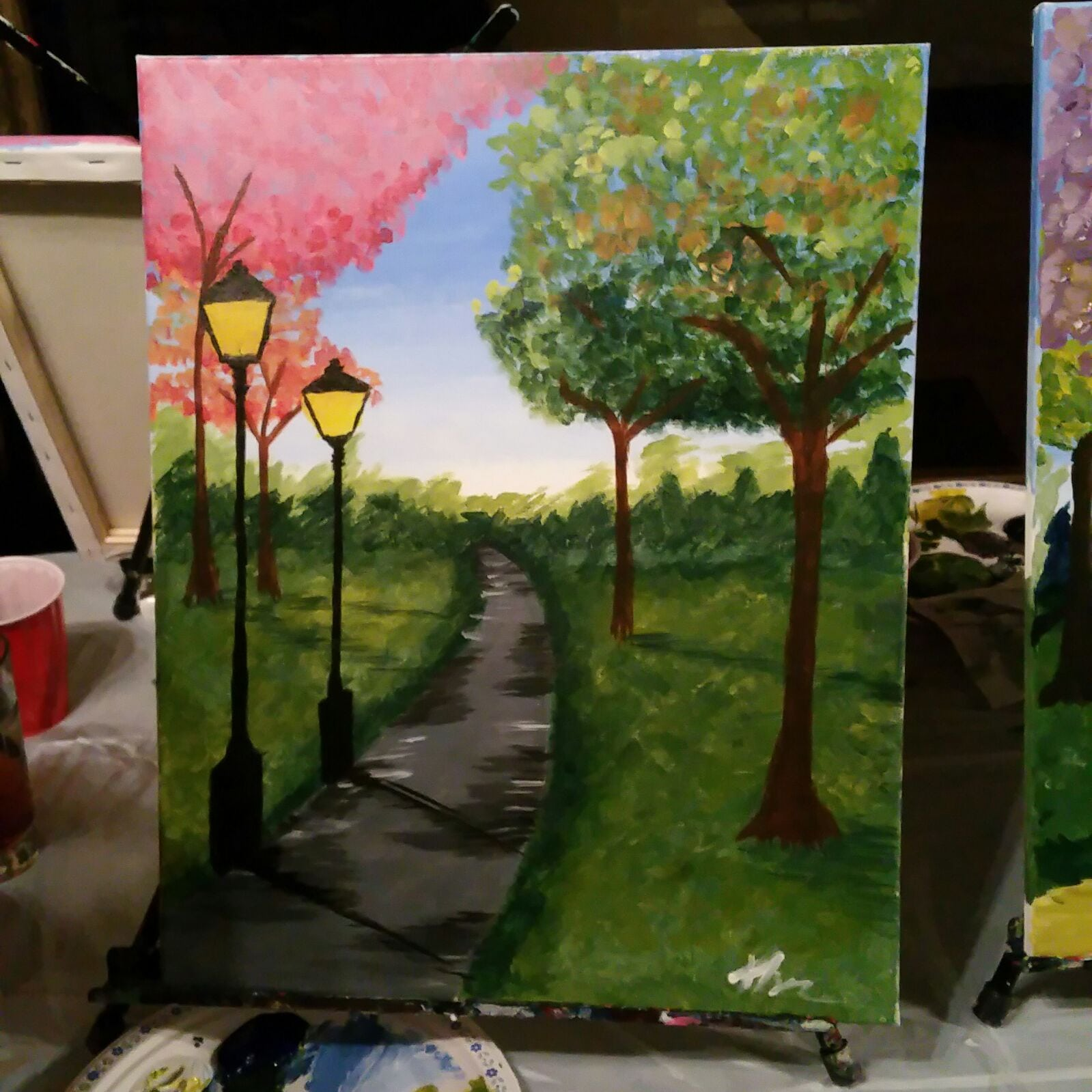 Paint night calgary Valentine's Day V-Day date idea picture painting