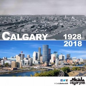 history of calgary then & now infographic 1928 2018 skyline