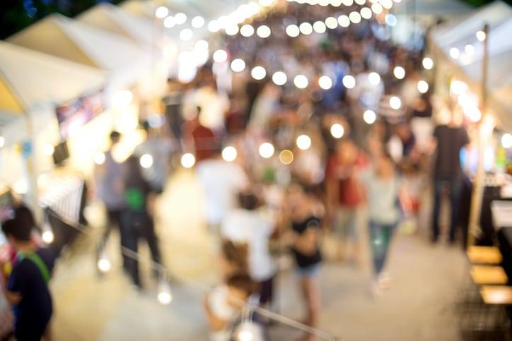people shopping globalfest night market yyc calgary alberta