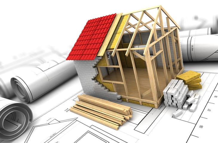 home undergoing renovations 3d graphic