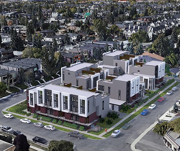 marlo townhomes altadore aerial view