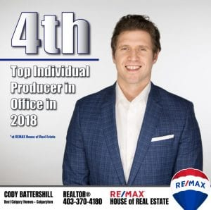 Cody Battershill: 4th Top Producer at REMAX House of Real Estate (2018)