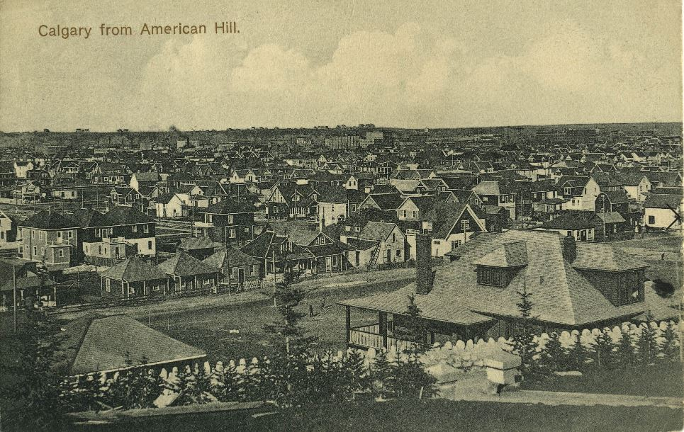 historical picture of calgary american hill downtown view
