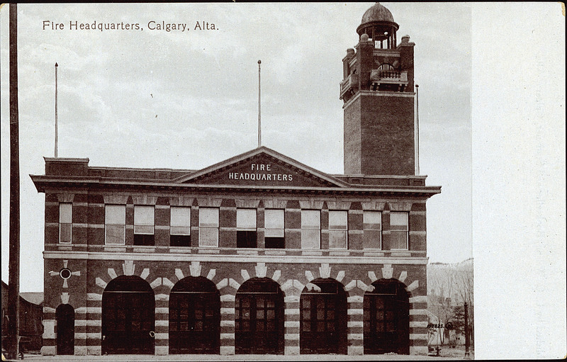 downtown calgary historical photo of fire headquarters